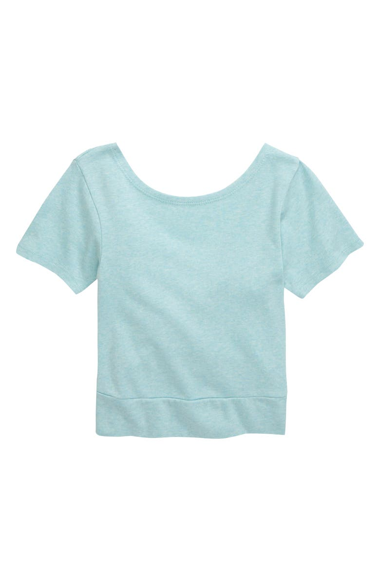 ZELLA GIRL Inspire Twist Tee, Main, color, TEAL ANGEL HEATHER