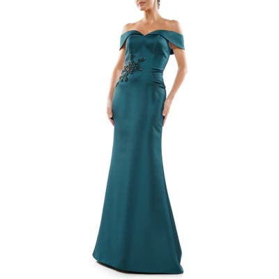 Marsoni Bead Detail Off The Shoulder Satin Trumpet Gown, Green