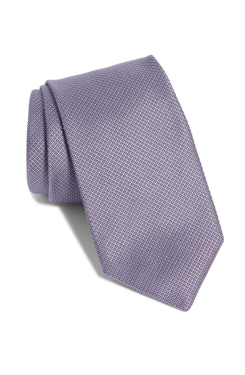 BOSS Grid Silk Tie, Main, color, LAVENDER
