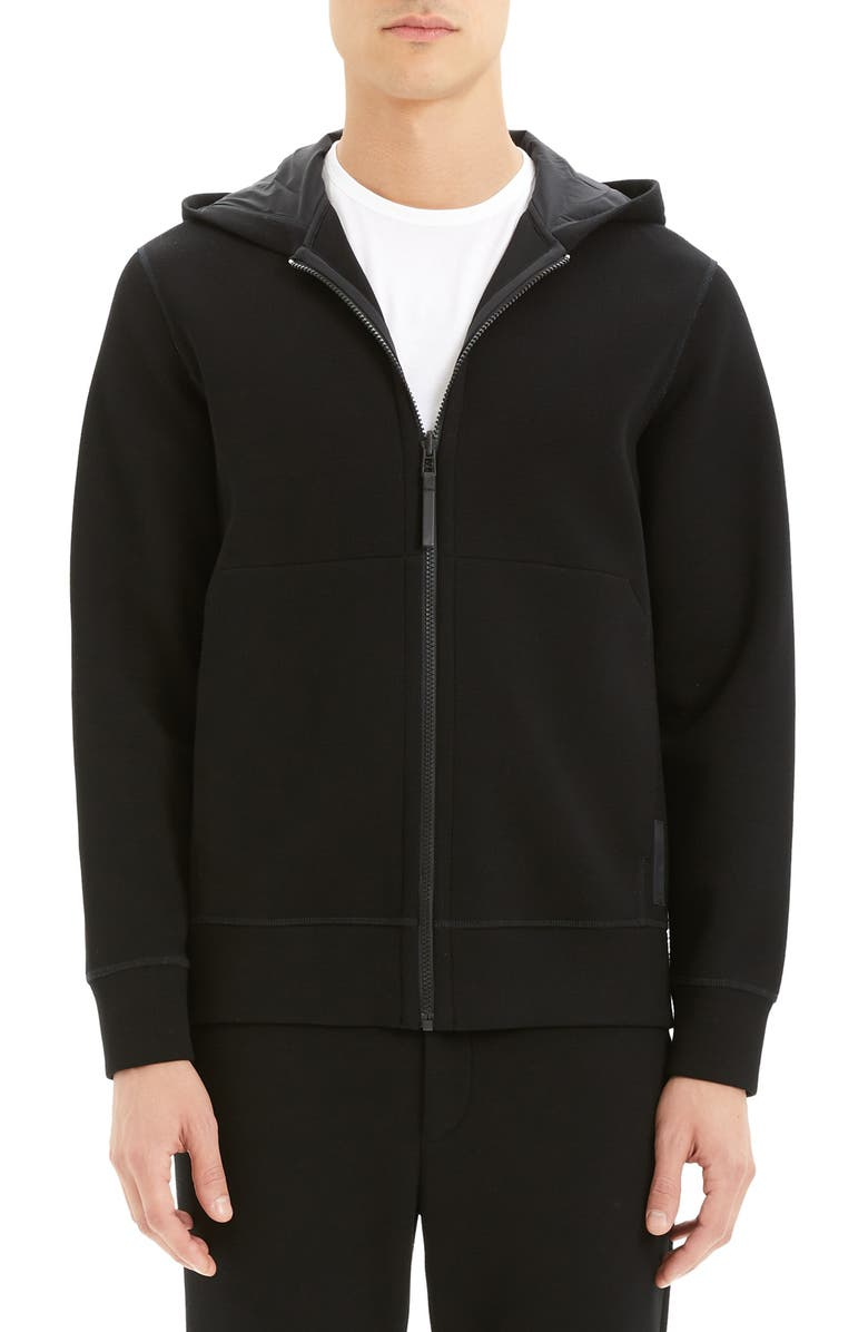 THEORY Scuba Knit Hoodie, Main, color, BLACK/ BLACK