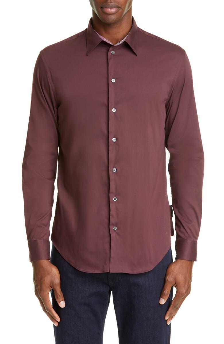 EMPORIO ARMANI Trim Fit Button-Up Shirt, Main, color, RED