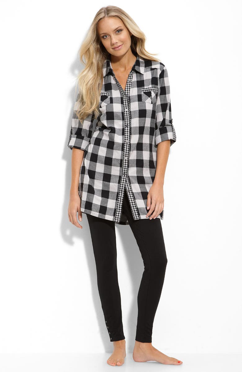 PJ SALVAGE Plaid Nightshirt, Main, color, 001