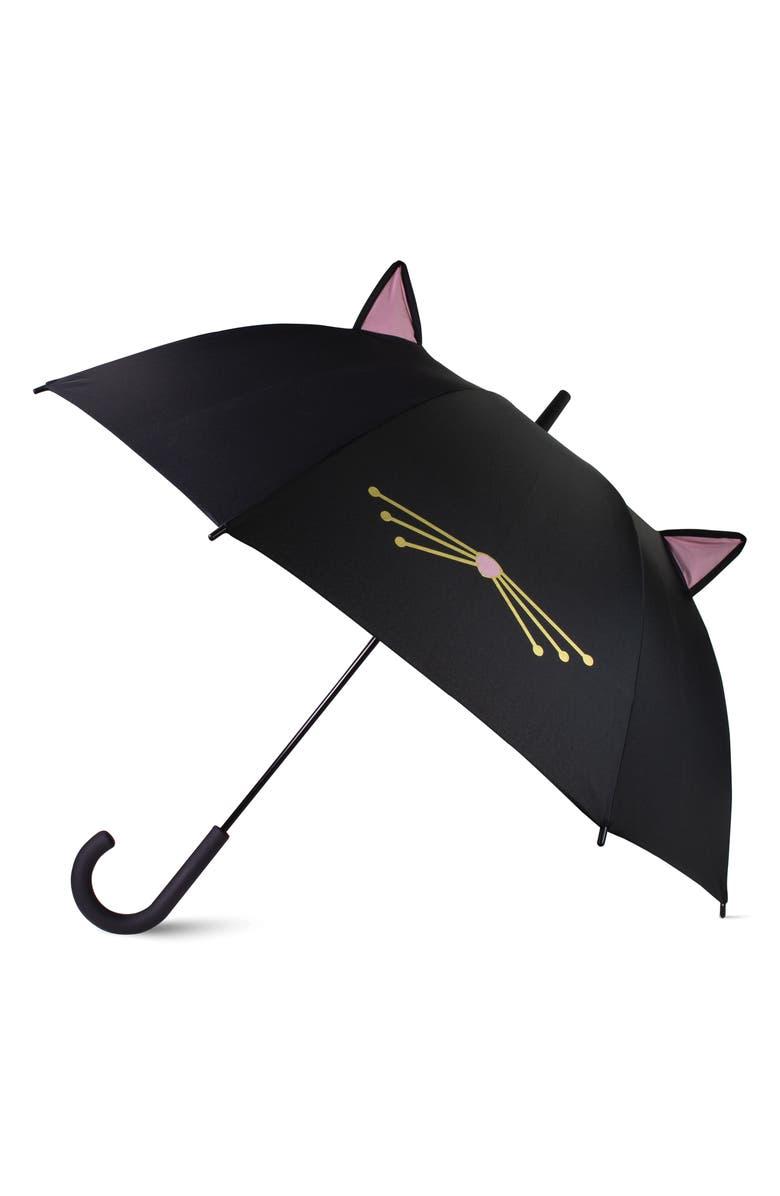 KATE SPADE NEW YORK cat umbrella, Main, color, BLACK