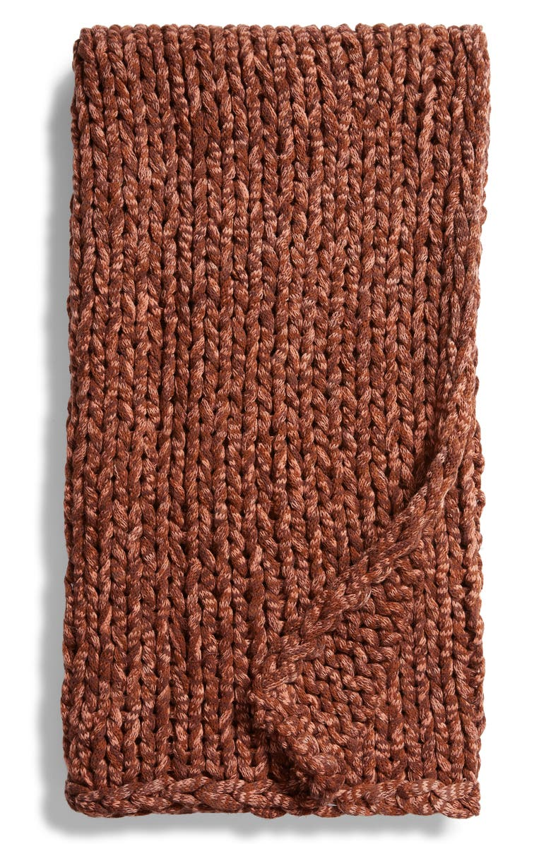 TREASURE & BOND Space Dye Jersey Rope Throw Blanket, Main, color, BROWN MOCHA MULTI