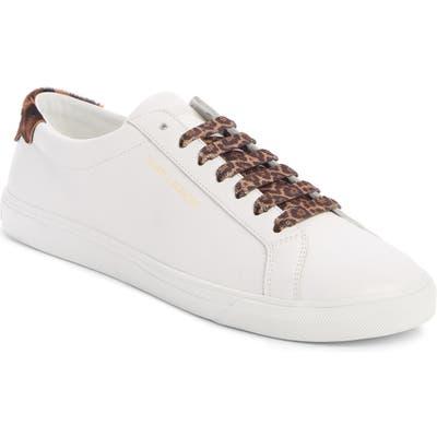 Saint Laurent Andy Genuine Calf Hair Trim Sneaker, White