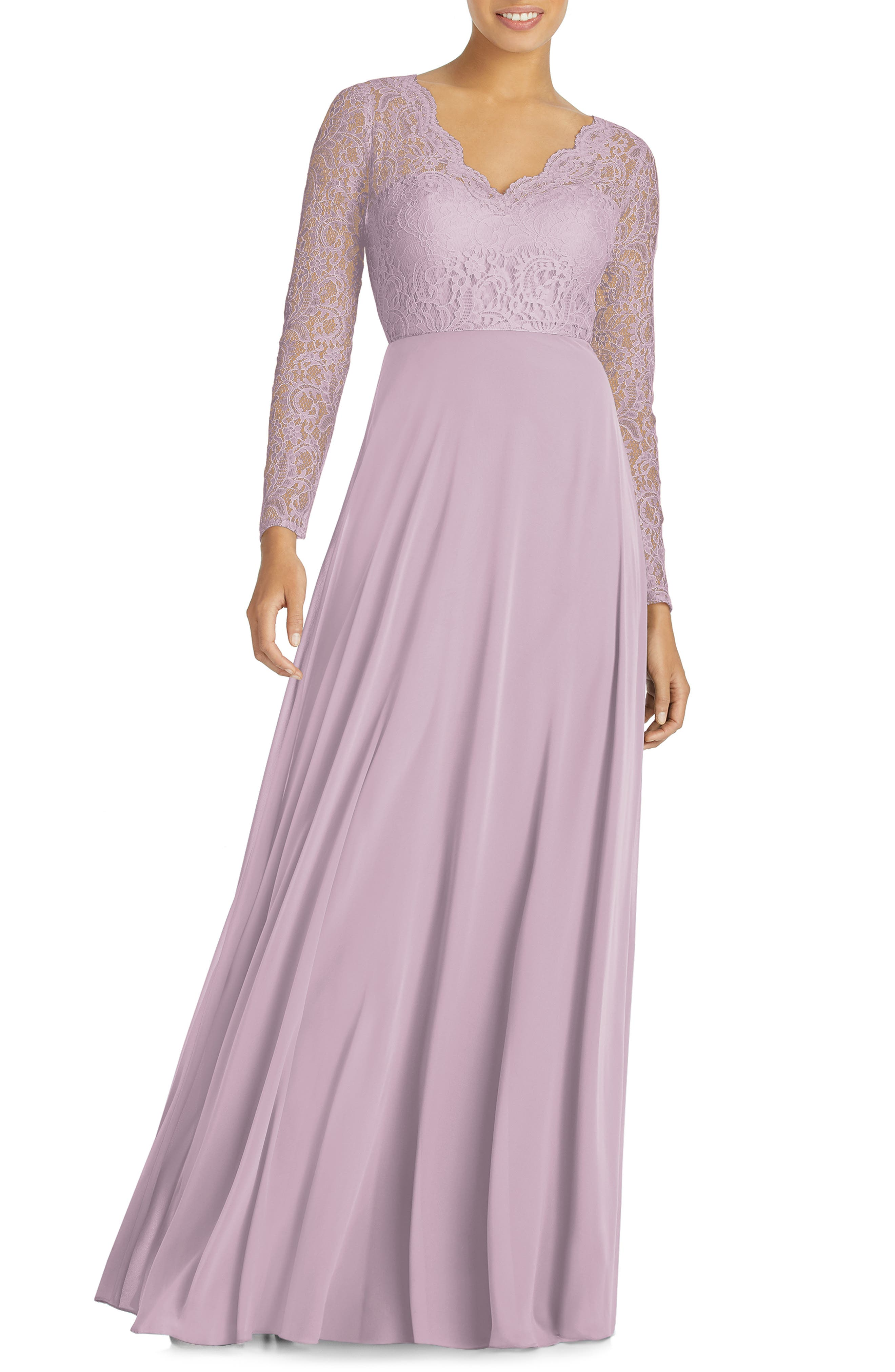 Dessy Collection Long Sleeve Lace & Chiffon Gown, Pink