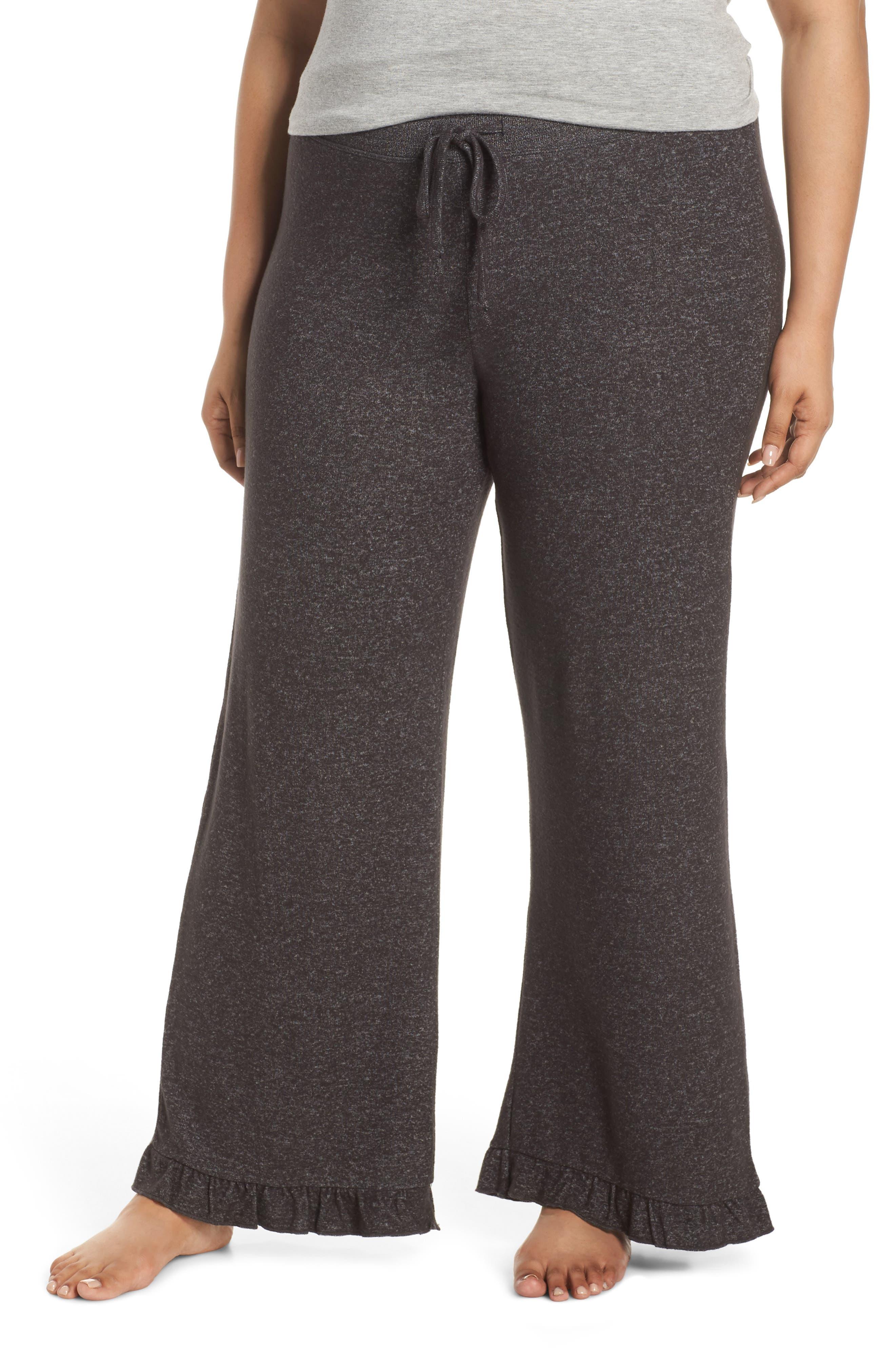 Plus Size Make + Model Ruffle Hem Hacci Sweatpants, Grey