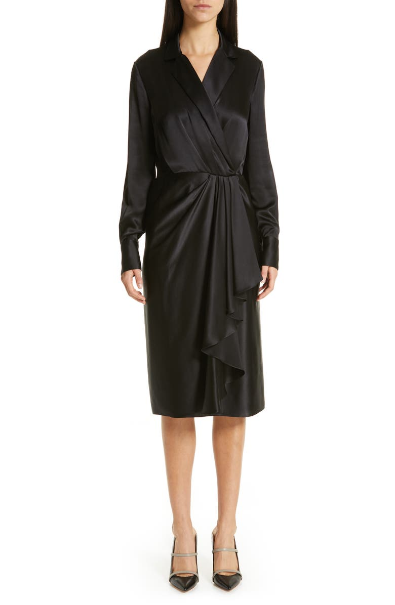 JASON WU COLLECTION Surplice Silk Charmeuse Dress, Main, color, BLACK