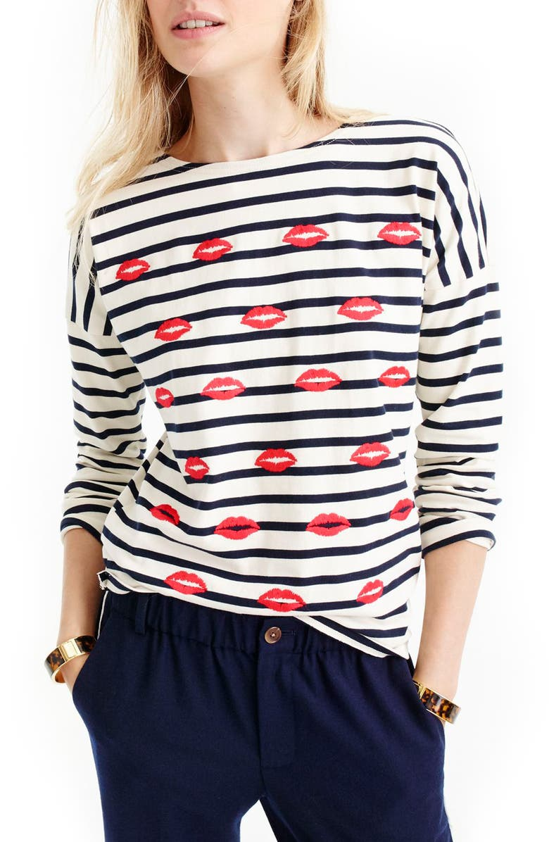 J.CREW Embroidered Lips Stripe Tee, Main, color, 403