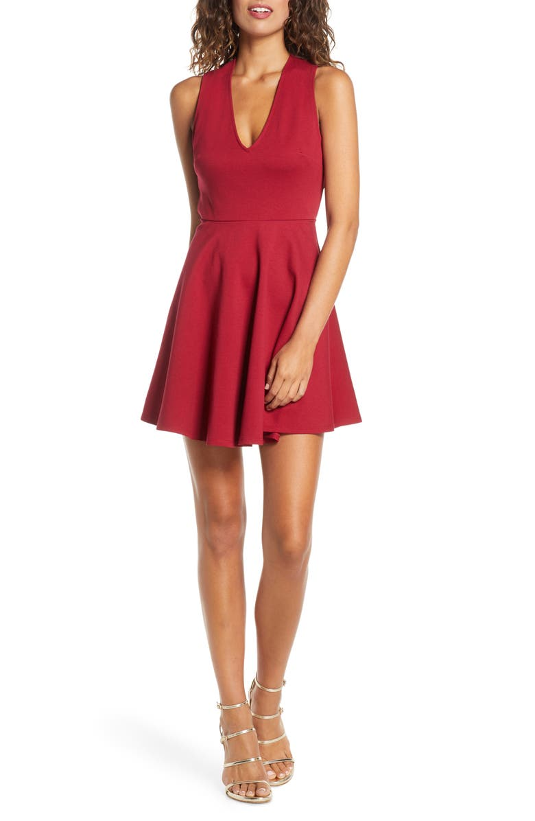 LULUS Going Steady Backless Skater Dress, Main, color, WINE