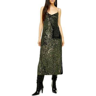 Topshop Sequin Midi Dress, US (fits like 6-8) - Green
