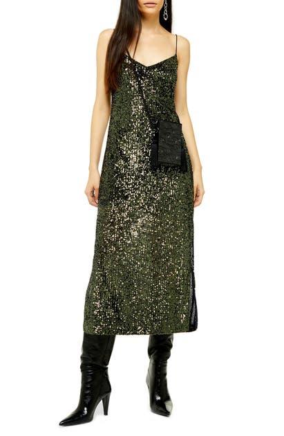 Topshop Sequin Midi Dress In Olive