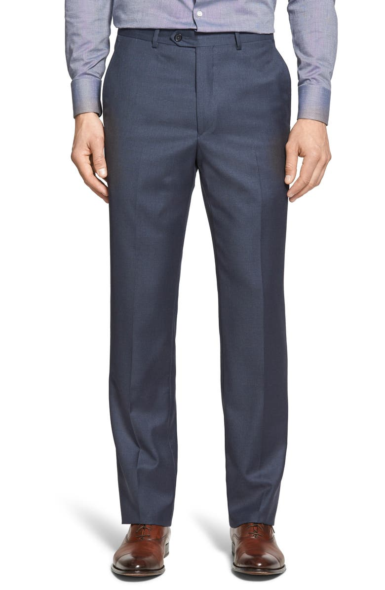 SANTORELLI Luxury Flat Front Wool Dress Pants, Main, color, MEDIUM BLUE
