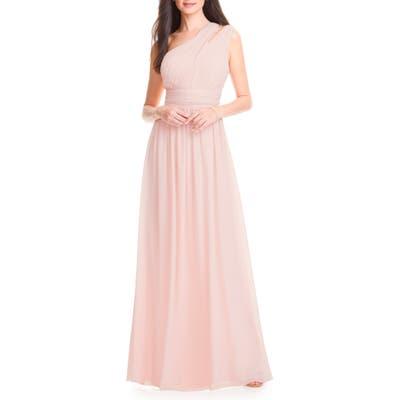 #levkoff Chiffon One-Shoulder Gown, Pink
