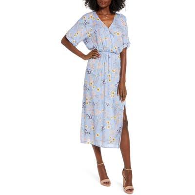 All In Favor Floral Wrap Front Side Slit Dress, Purple