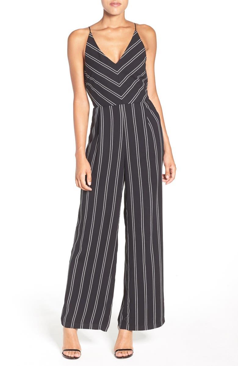 ADELYN RAE Stripe Wide Leg Jumpsuit, Main, color, 001