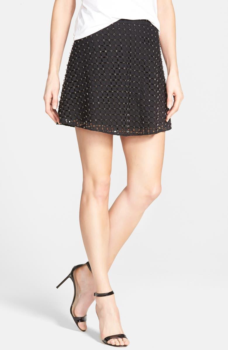 MICHAEL MICHAEL KORS Rhinestone Eyelet Miniskirt, Main, color, 001