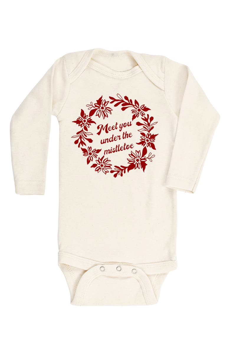 TENTH & PINE Meet You Under The Mistletoe Organic Cotton Bodysuit, Main, color, NATURAL