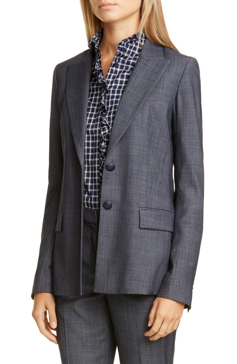 LAFAYETTE 148 NEW YORK Harlow Wool Blend Blazer, Main, color, ROYAL BLUE MULTI