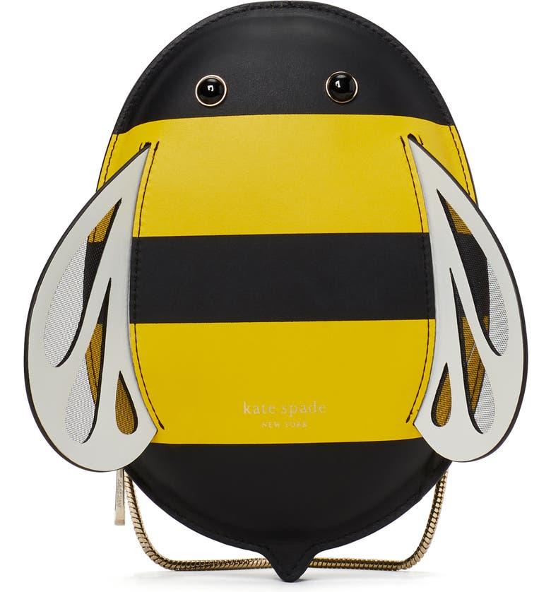 KATE SPADE NEW YORK buzzbee leather crossbody bag, Main, color, YELLOW MULTI