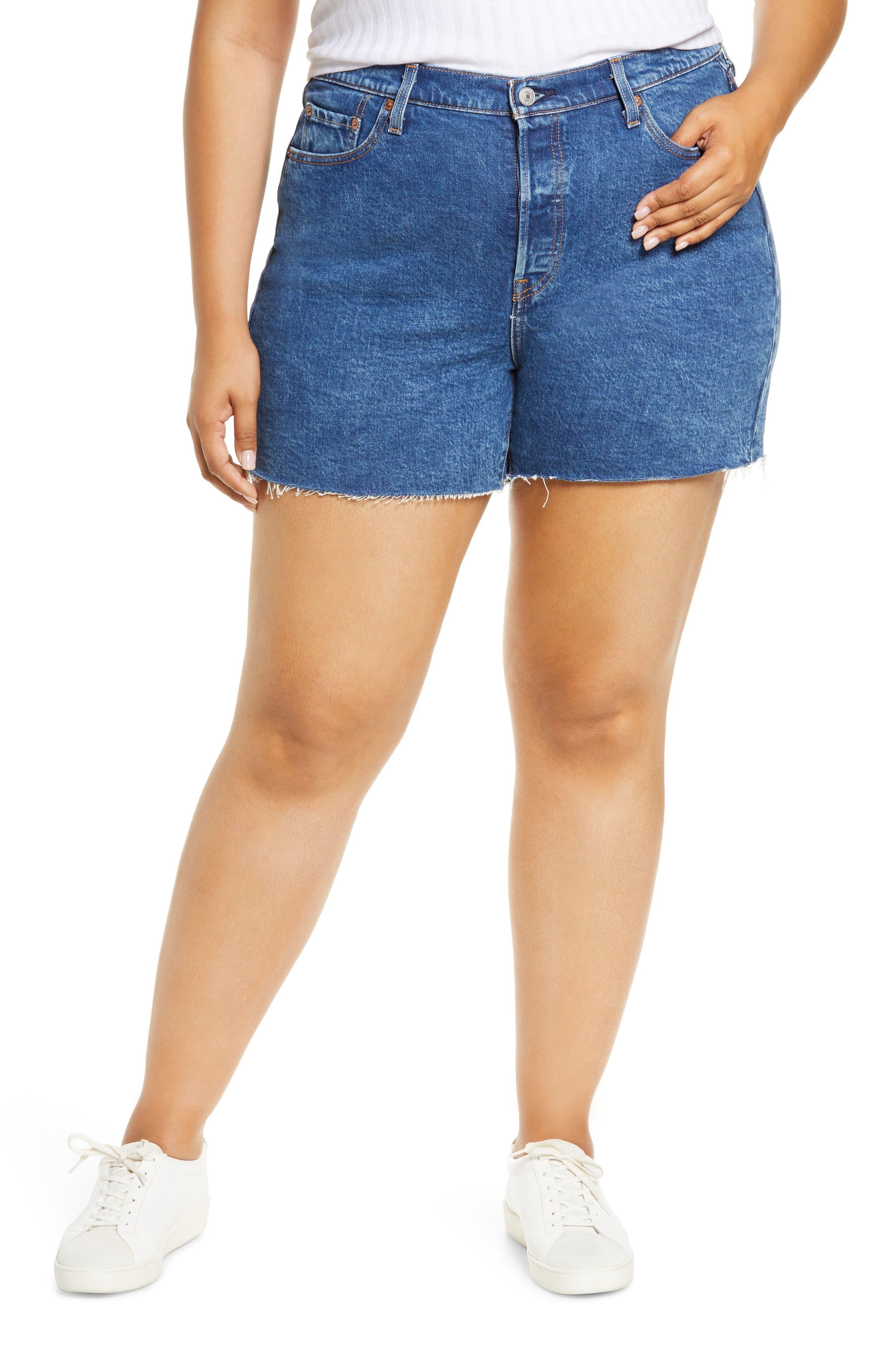 Plus Women's Levi's 501 Original Raw Hem Denim Shorts