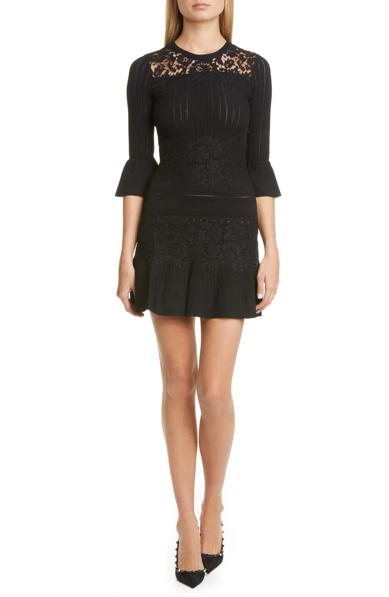 VALENTINO Lace Trim Sweater Dress, Main, color, 001