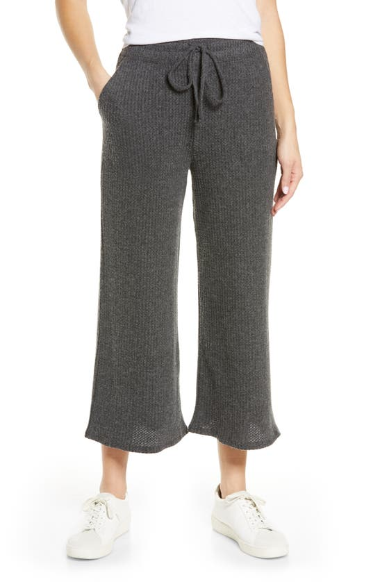 Beyond Yoga Waffle-knit Wide-leg Cropped Pants In Charcoal