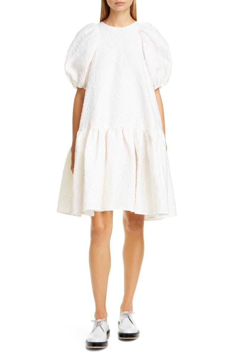 CECILIE BAHNSEN Alexa Floral Matelassé Babydoll Dress, Main, color, WHITE