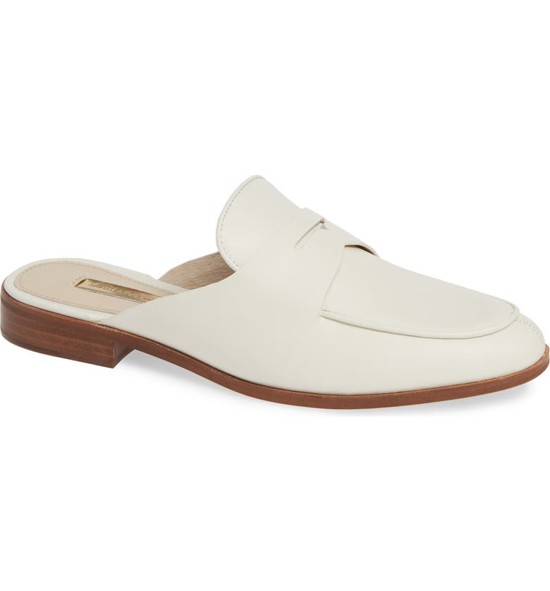 LOUISE ET CIE Dugan Flat Loafer Mule, Main, color, WHITE LEATHER