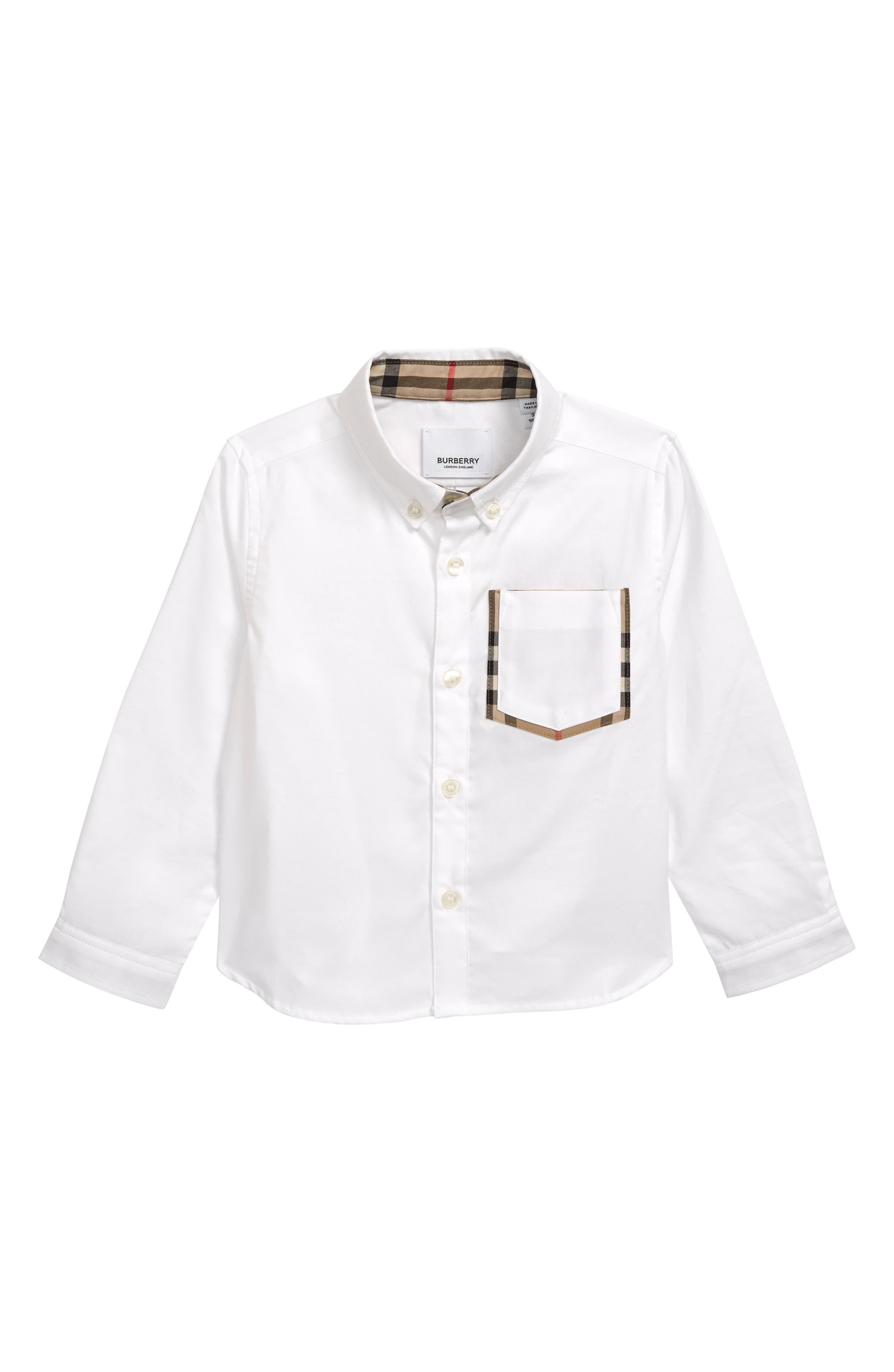 Harry Check Trim Sport Shirt, Main, color, WHITE