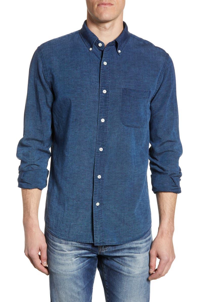FAHERTY Laguna Linen Shirt, Main, color, DARK INDIGO