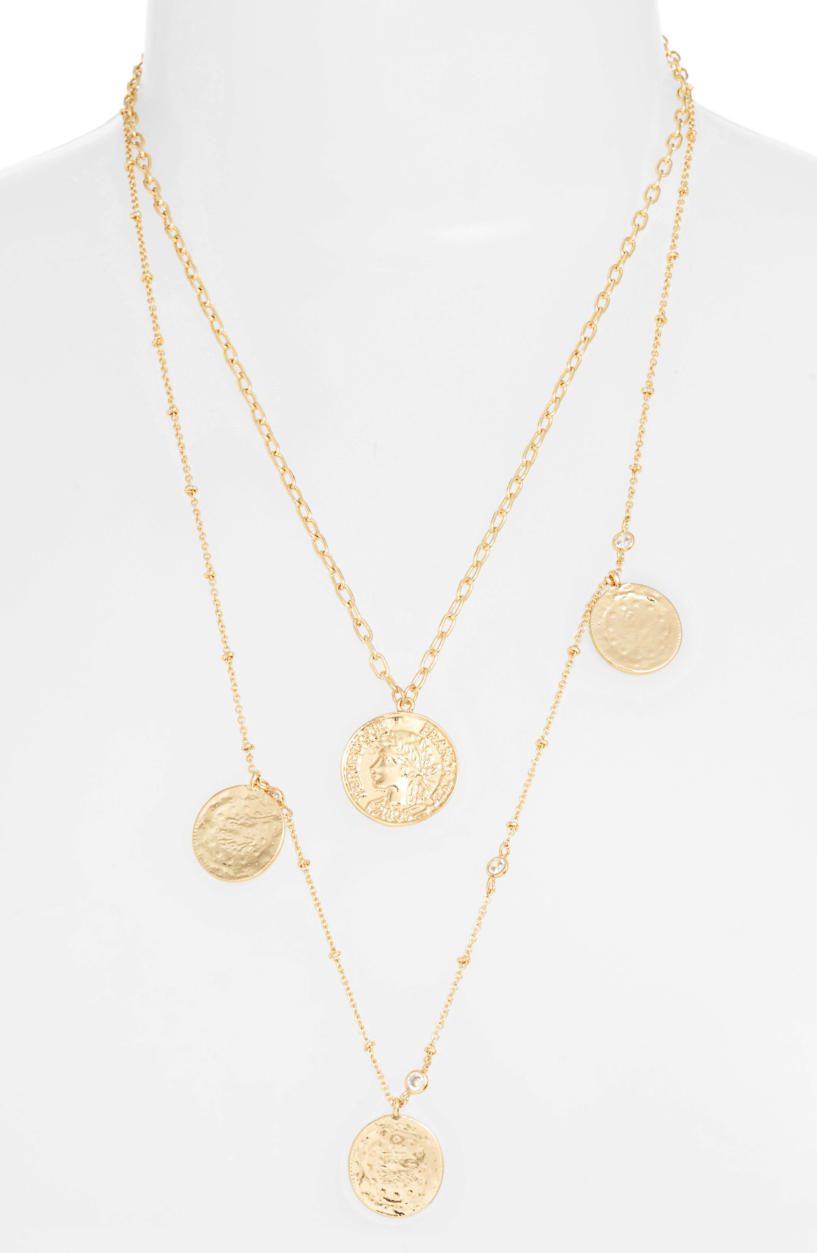 Set Of 2 Coin Pendant Necklaces