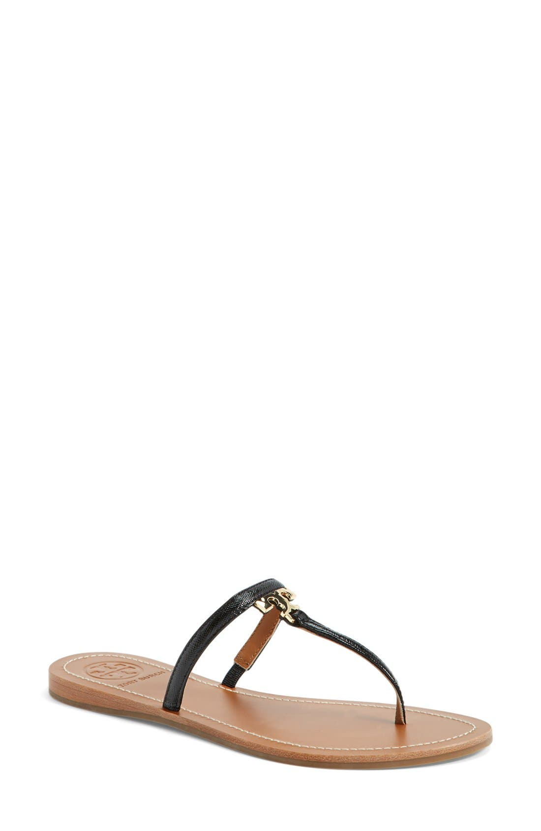 Tory Burch 'T' Logo Leather Thong