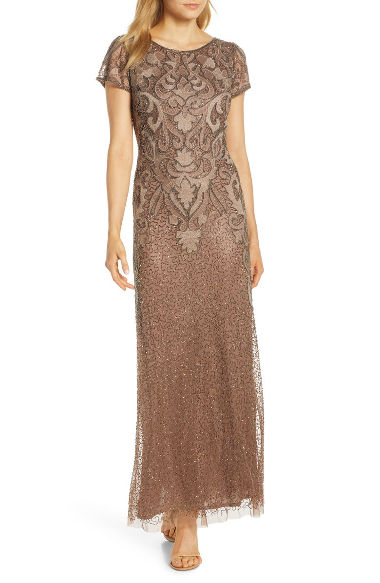 PISARRO NIGHTS Embroidered Mesh Gown, Main, color, MOCHA