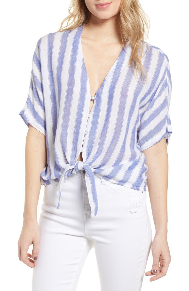 RAILS Thea Tie Hem Shirt, Main, color, PACIFICA STRIPE