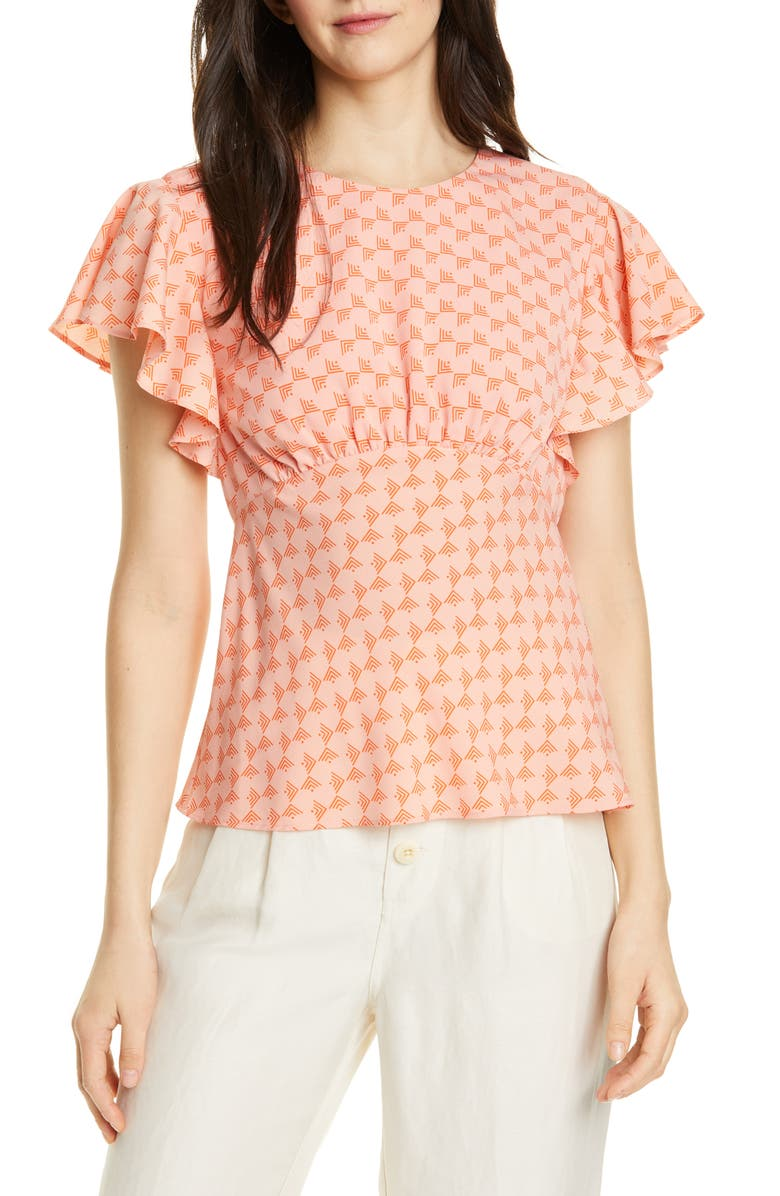 JOIE Ansell Flutter Sleeve Top, Main, color, ISLAND SUNSET