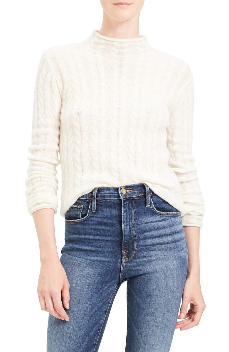 THEORY Mock Neck Cable Knit Cashmere Sweater, Main, color, IVORY