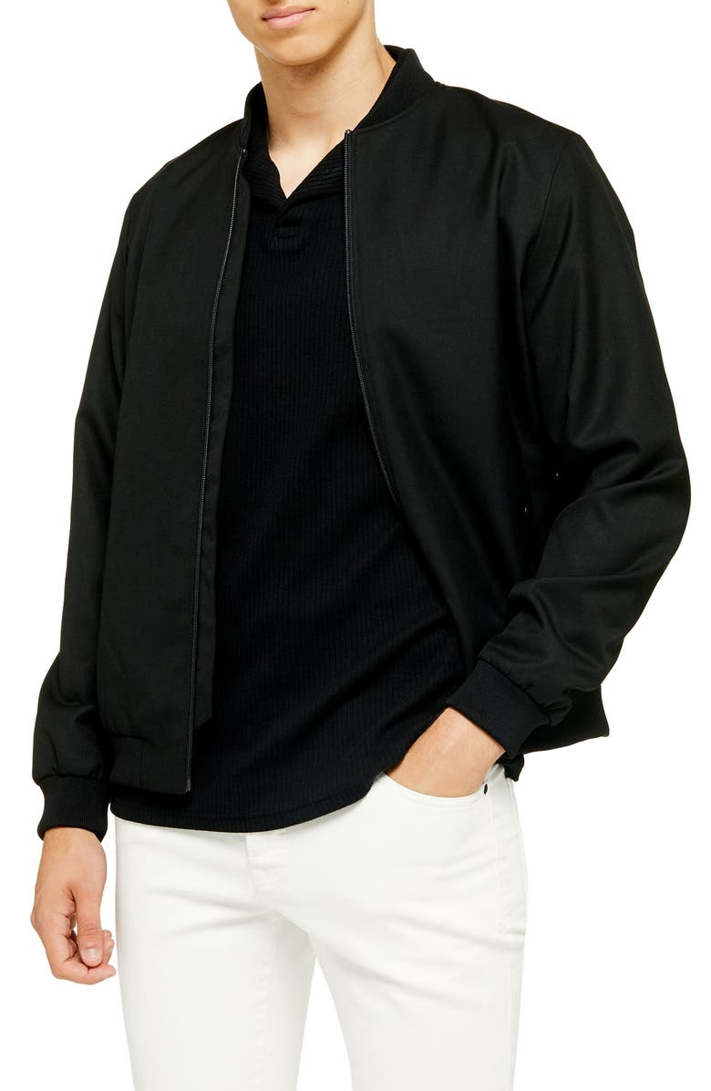 TOPMAN Wiley Bomber Jacket, Main, color, BLACK