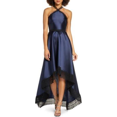 Ml Monique Lhuillier High/low Mikado Gown, Blue