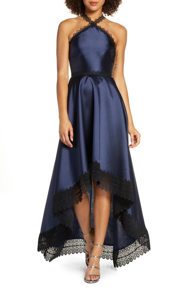 ML MONIQUE LHUILLIER High/Low Mikado Gown, Main, color, MIDNIGHT