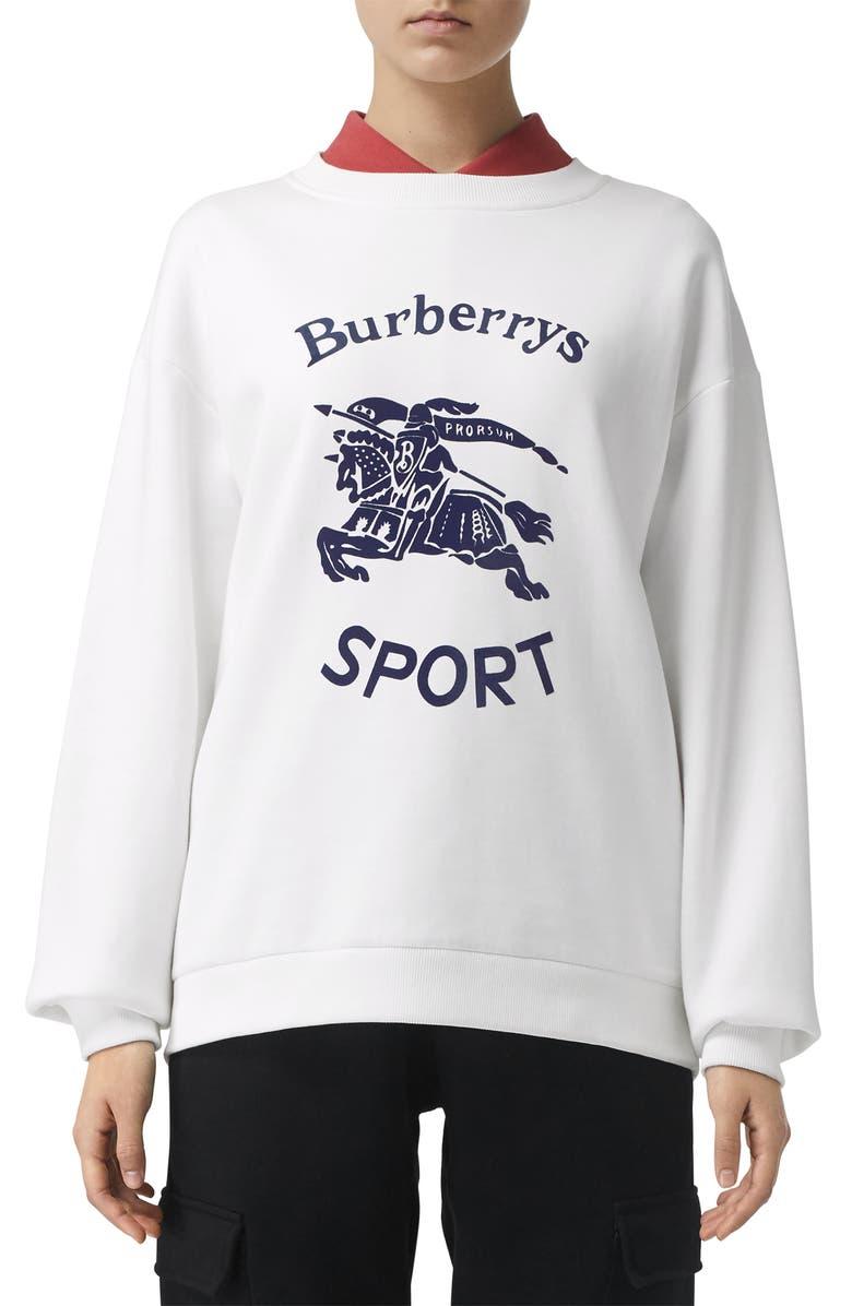 BURBERRY Otaki Archive Logo Print Sweatshirt, Main, color, 100