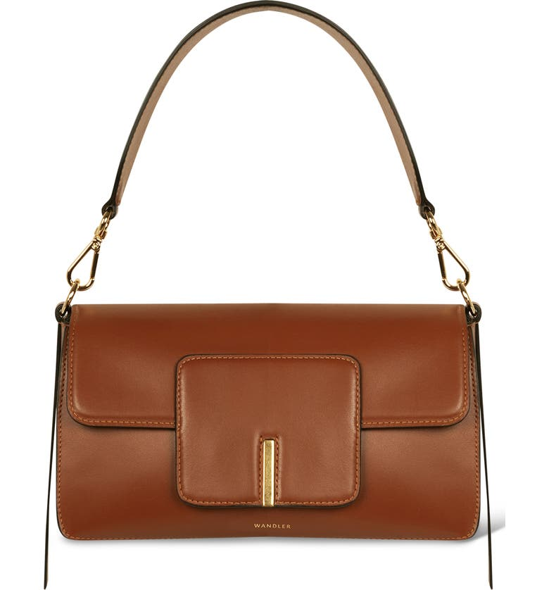 WANDLER Georgia Leather Shoulder Bag, Main, color, TAN