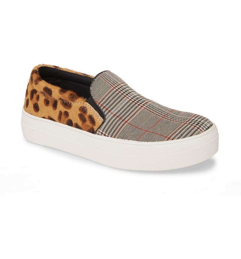 STEVE MADDEN Gills Platform Slip-On Sneaker, Main, color, LEOPARD MULTI CALF HAIR