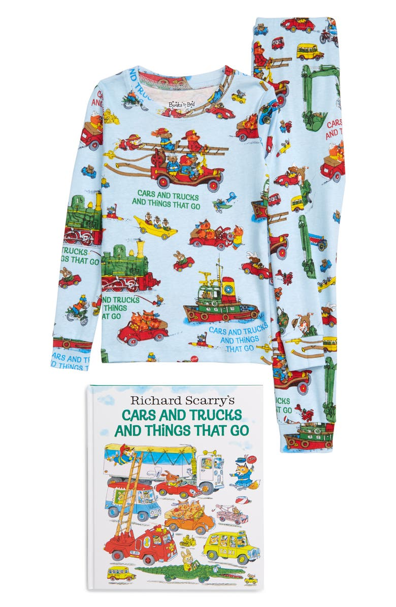 BOOKS TO BED Cars and Trucks and Things That Go Fitted Two-Piece Pajamas & Book Set, Main, color, BLUE