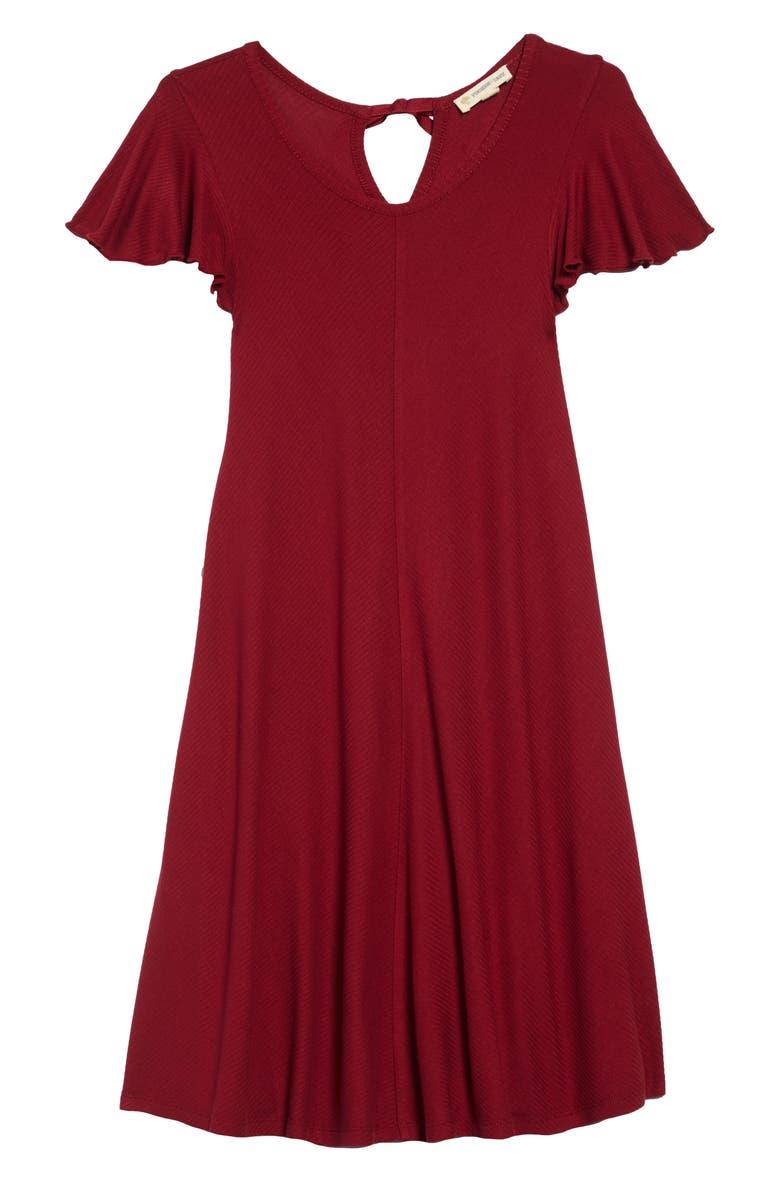 TUCKER + TATE Flutter Sleeve Dress, Main, color, RED TIBETAN