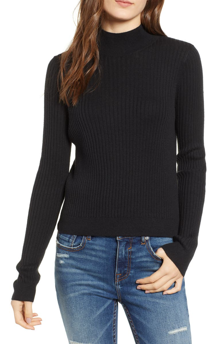 BP. Rib Knit Mock Neck Sweater, Main, color, 001