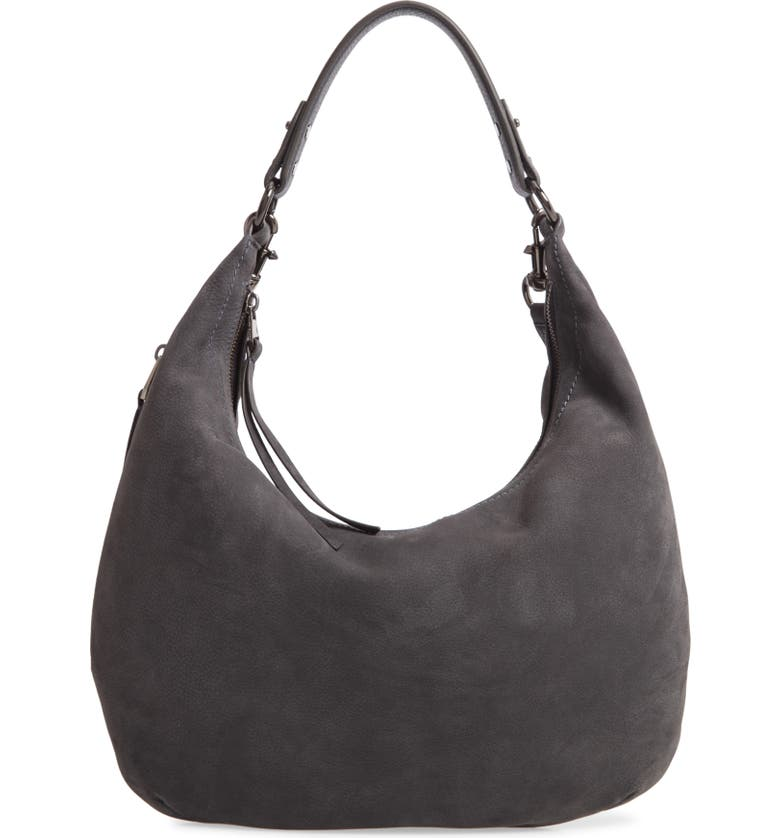 REBECCA MINKOFF Michelle Nubuck Leather Hobo, Main, color, 020