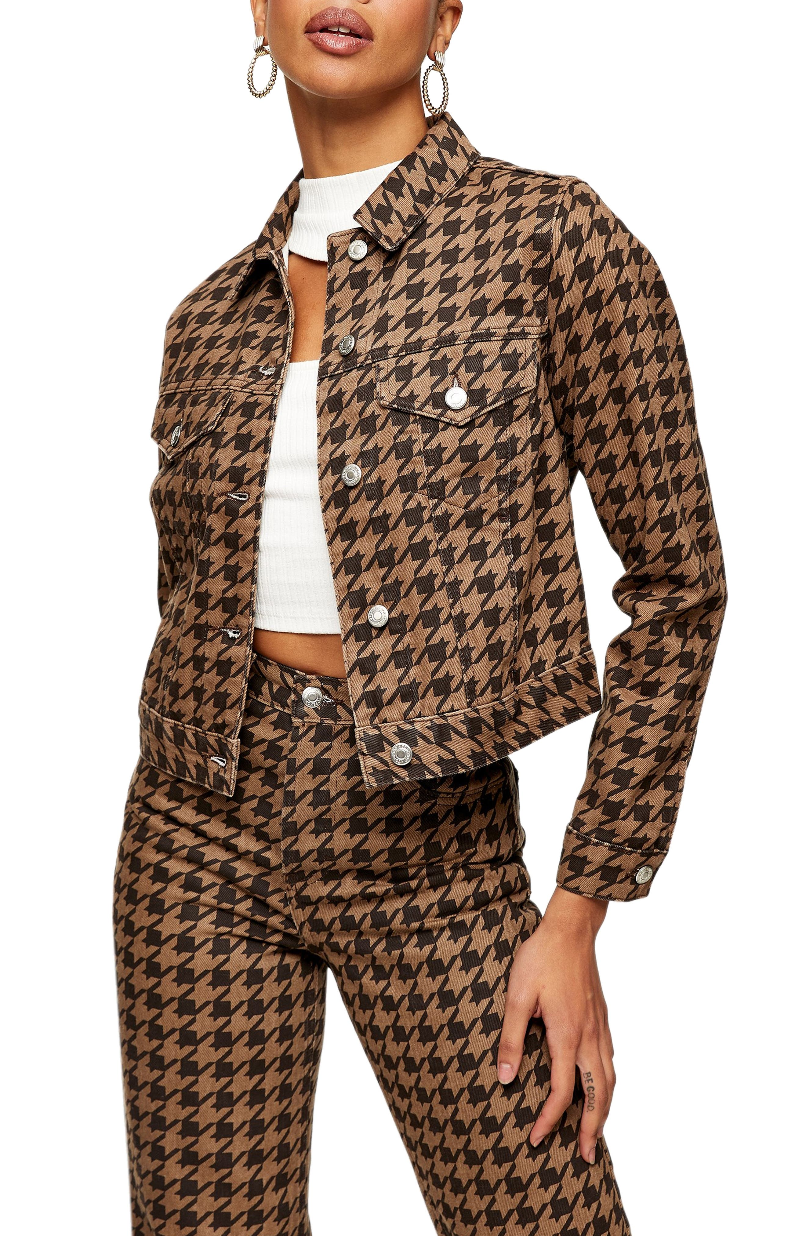 Image of TOPSHOP Houndstooth Crop Denim Jacket