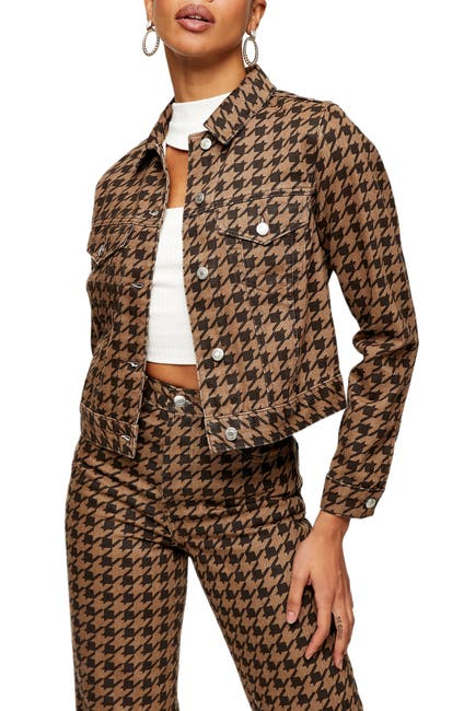 Image of TOPSHOP Houndstooth Crop Denim Jacket