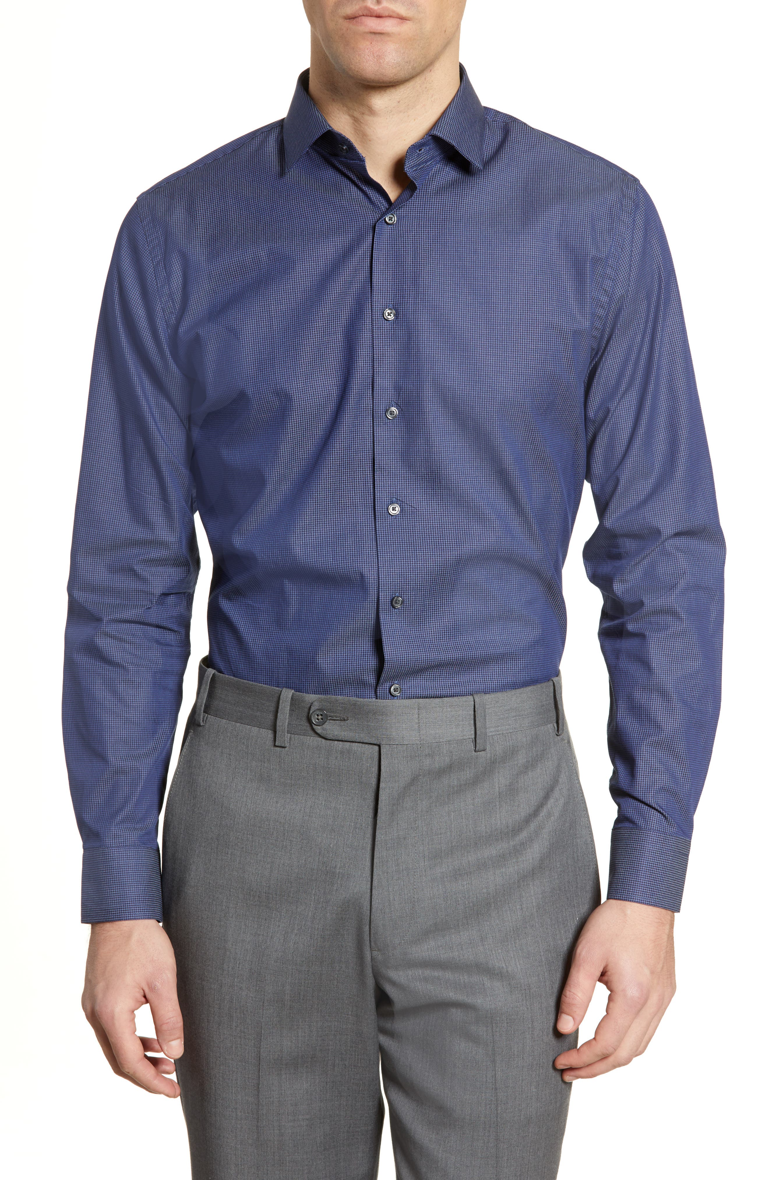 Image of CALIBRATE Trim Fit Houndstooth Dress Shirt